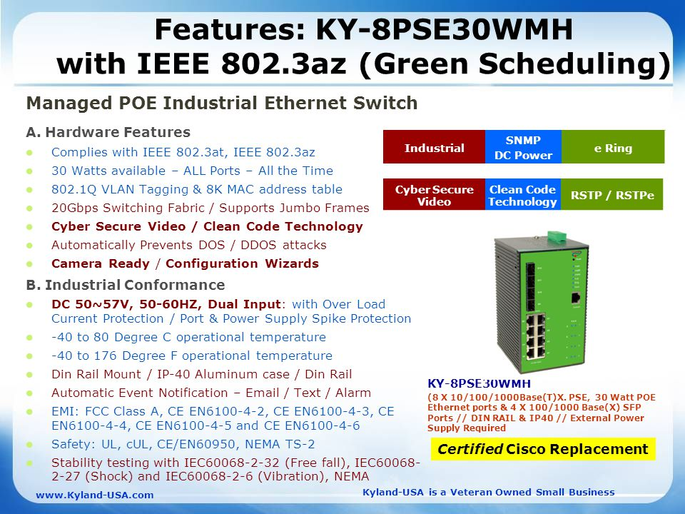 Kyland-USA is a Veteran Owned Small Business   Features: KY-8PSE30WMH with IEEE 802.3az (Green Scheduling) Managed POE Industrial Ethernet Switch A.