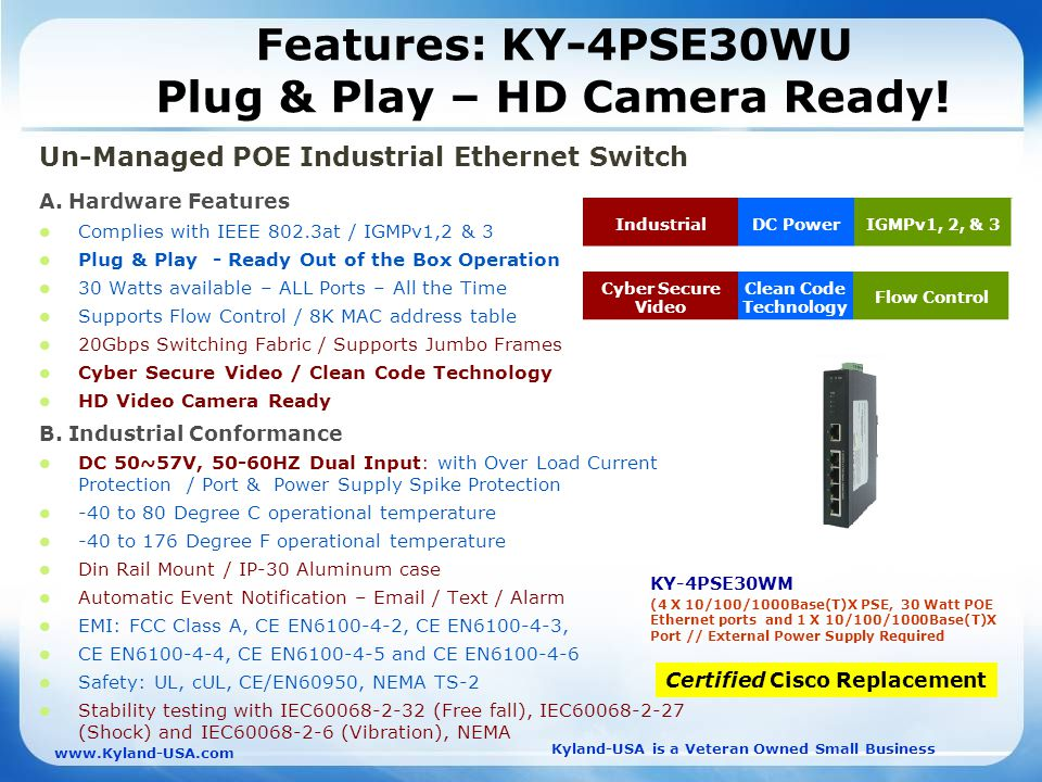Kyland-USA is a Veteran Owned Small Business   Features: KY-4PSE30WU Plug & Play – HD Camera Ready.
