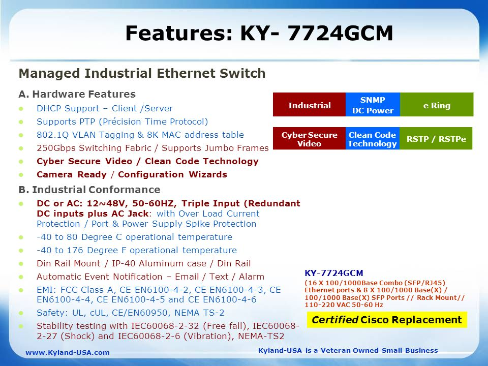 Kyland-USA is a Veteran Owned Small Business   Features: KY- 7724GCM Managed Industrial Ethernet Switch A.