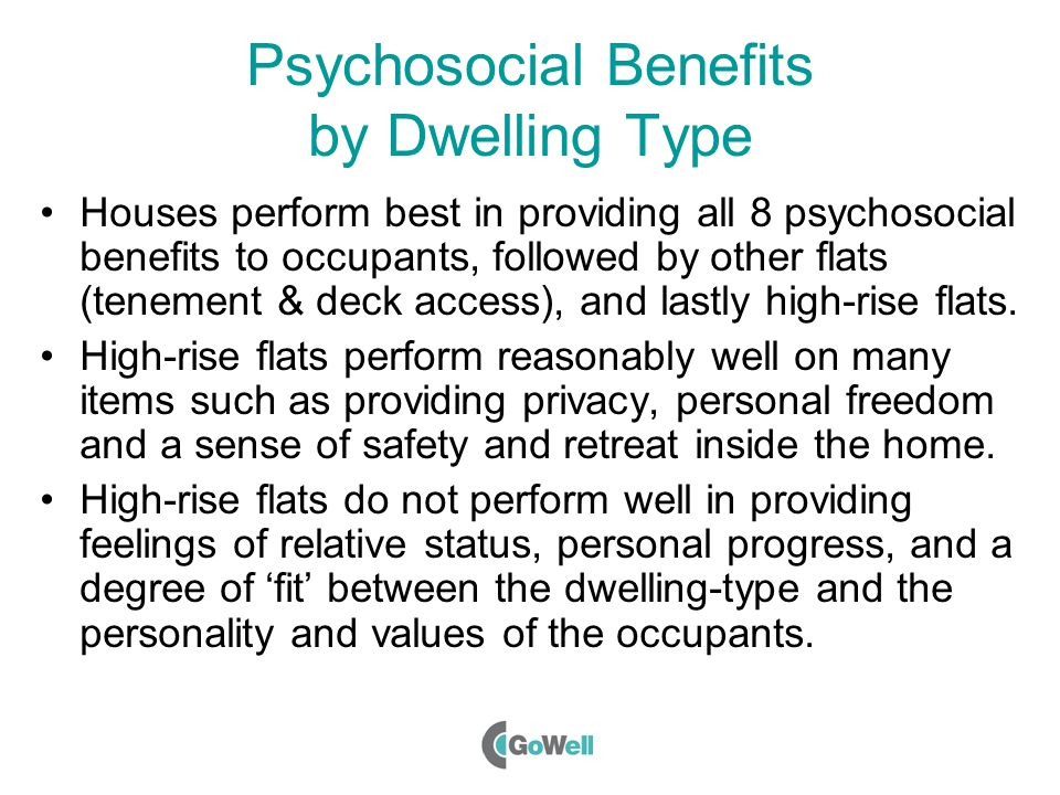 Psychosocial Benefits by Dwelling Type Houses perform best in providing all 8 psychosocial benefits to occupants, followed by other flats (tenement & deck access), and lastly high-rise flats.