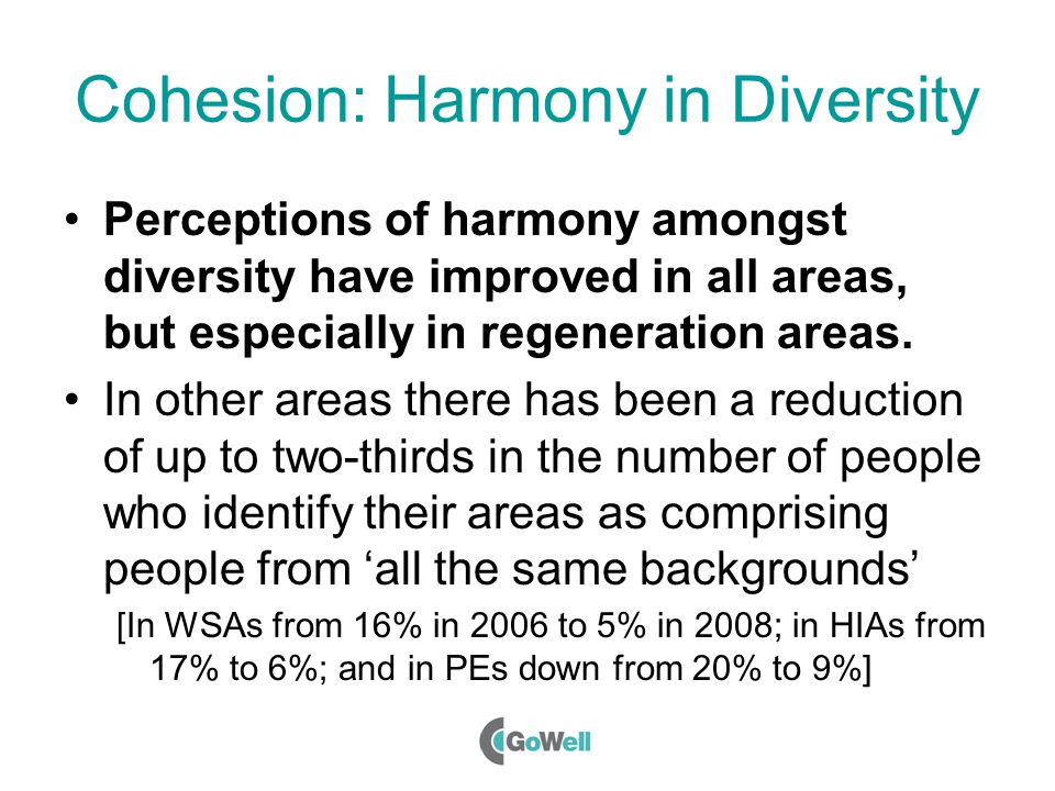Cohesion: Harmony in Diversity Perceptions of harmony amongst diversity have improved in all areas, but especially in regeneration areas.