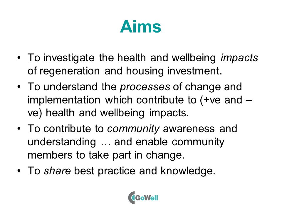 Aims To investigate the health and wellbeing impacts of regeneration and housing investment.