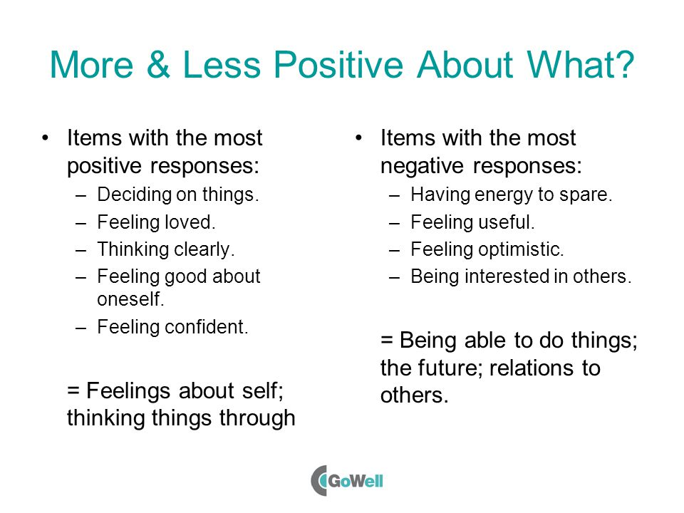 More & Less Positive About What. Items with the most positive responses: –Deciding on things.