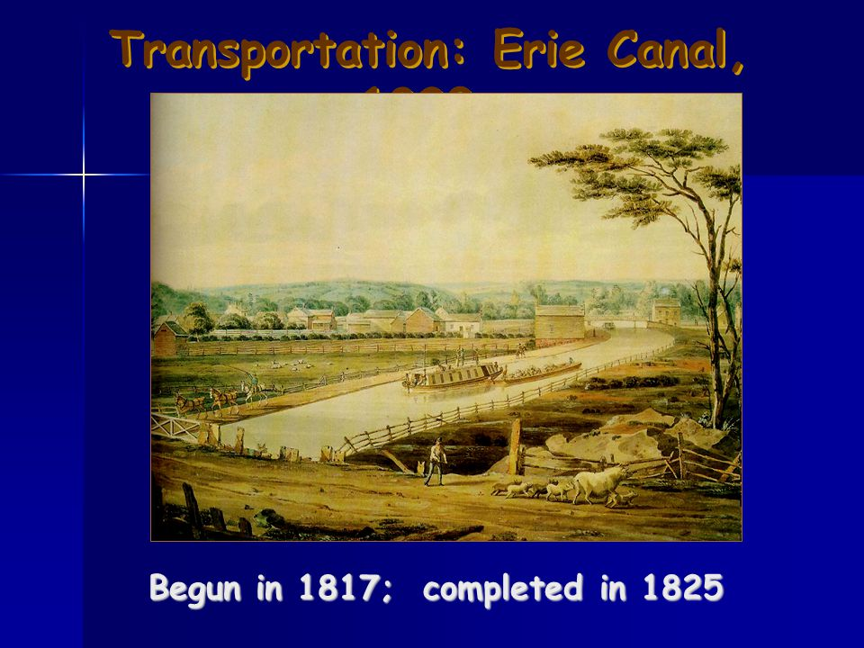 Transportation: Erie Canal, 1820s Begun in 1817; completed in 1825