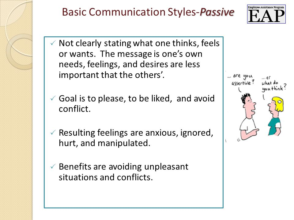 Passive Basic Communication Styles-Passive  Not clearly stating what one thinks, feels or wants.