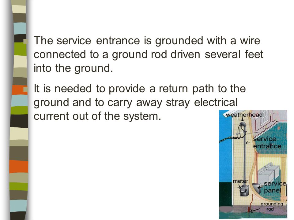 n The service entrance is grounded with a wire connected to a ground rod driven several feet into the ground.