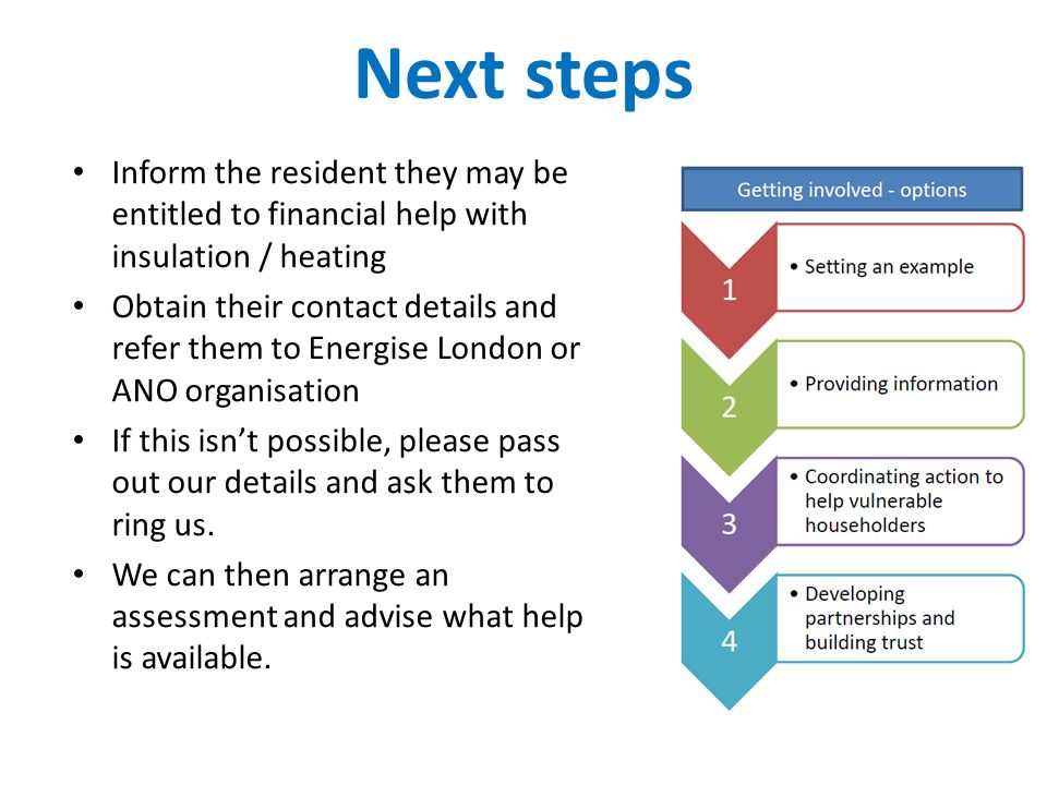 Next steps Inform the resident they may be entitled to financial help with insulation / heating Obtain their contact details and refer them to Energise London or ANO organisation If this isn't possible, please pass out our details and ask them to ring us.