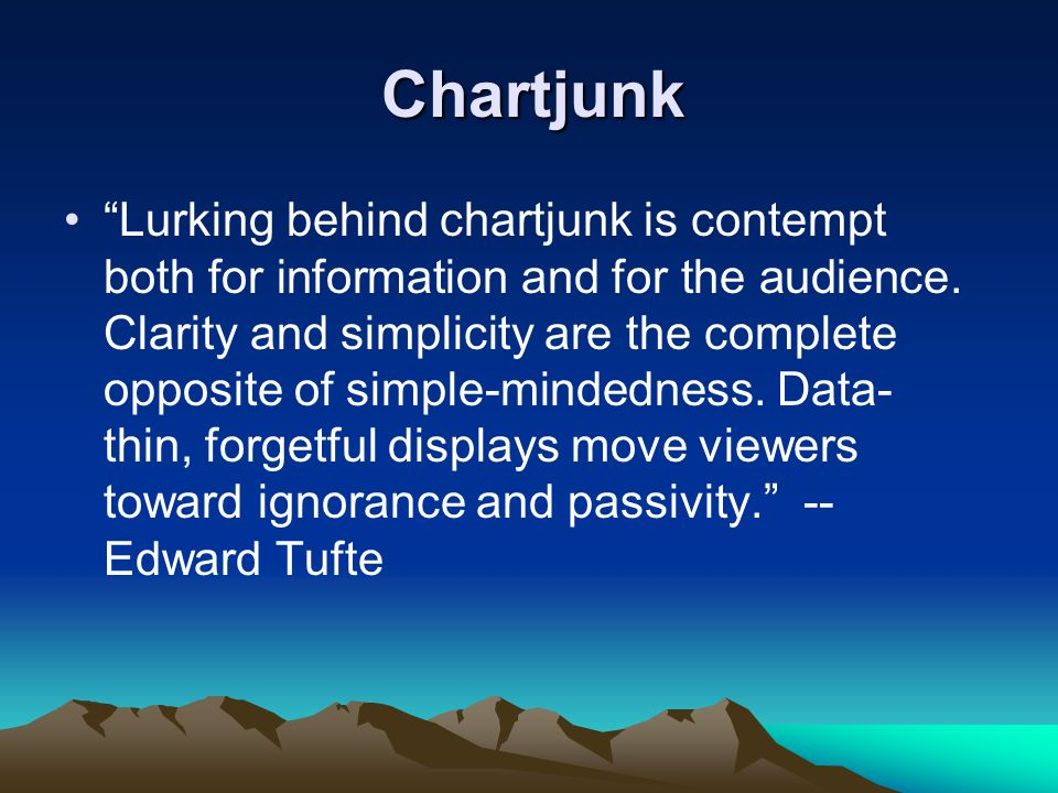 Chartjunk Lurking behind chartjunk is contempt both for information and for the audience.