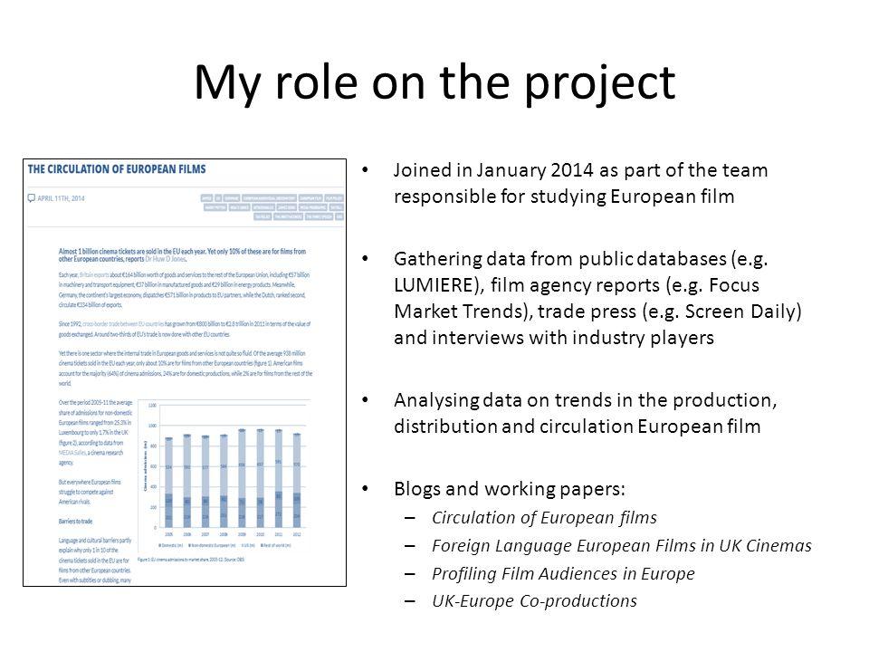 Doing Research on the European Film Industry Huw Jones