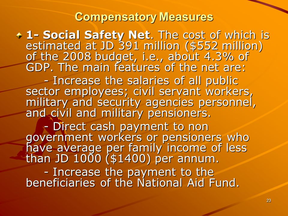 23 Compensatory Measures 1- Social Safety Net.