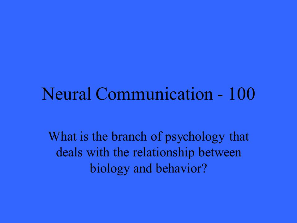 Neural Communication What is the branch of psychology that deals with the relationship between biology and behavior