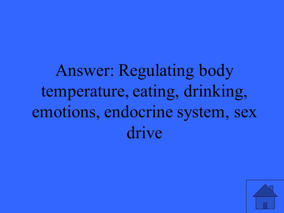 Answer: Regulating body temperature, eating, drinking, emotions, endocrine system, sex drive