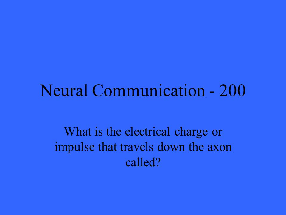 Neural Communication What is the electrical charge or impulse that travels down the axon called