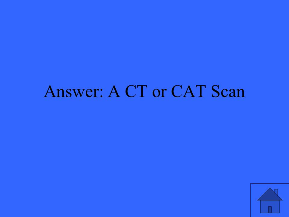 Answer: A CT or CAT Scan