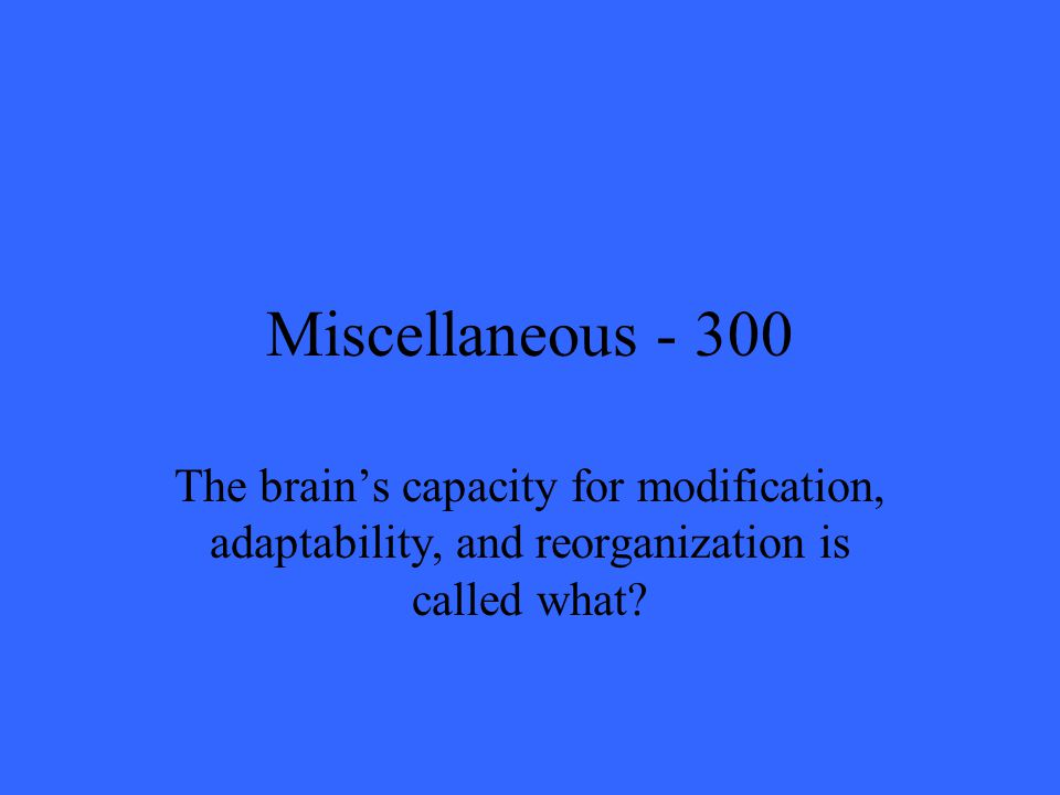 Miscellaneous The brain's capacity for modification, adaptability, and reorganization is called what
