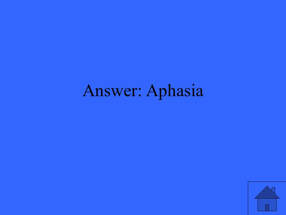Answer: Aphasia