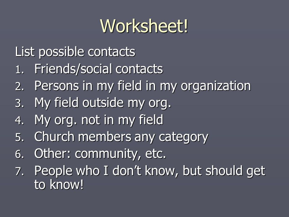 Worksheet. List possible contacts 1. Friends/social contacts 2.