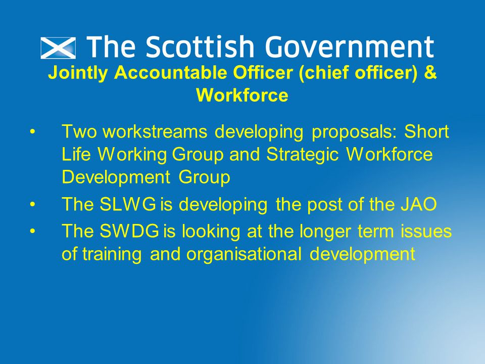 Jointly Accountable Officer (chief officer) & Workforce Two workstreams developing proposals: Short Life Working Group and Strategic Workforce Development Group The SLWG is developing the post of the JAO The SWDG is looking at the longer term issues of training and organisational development