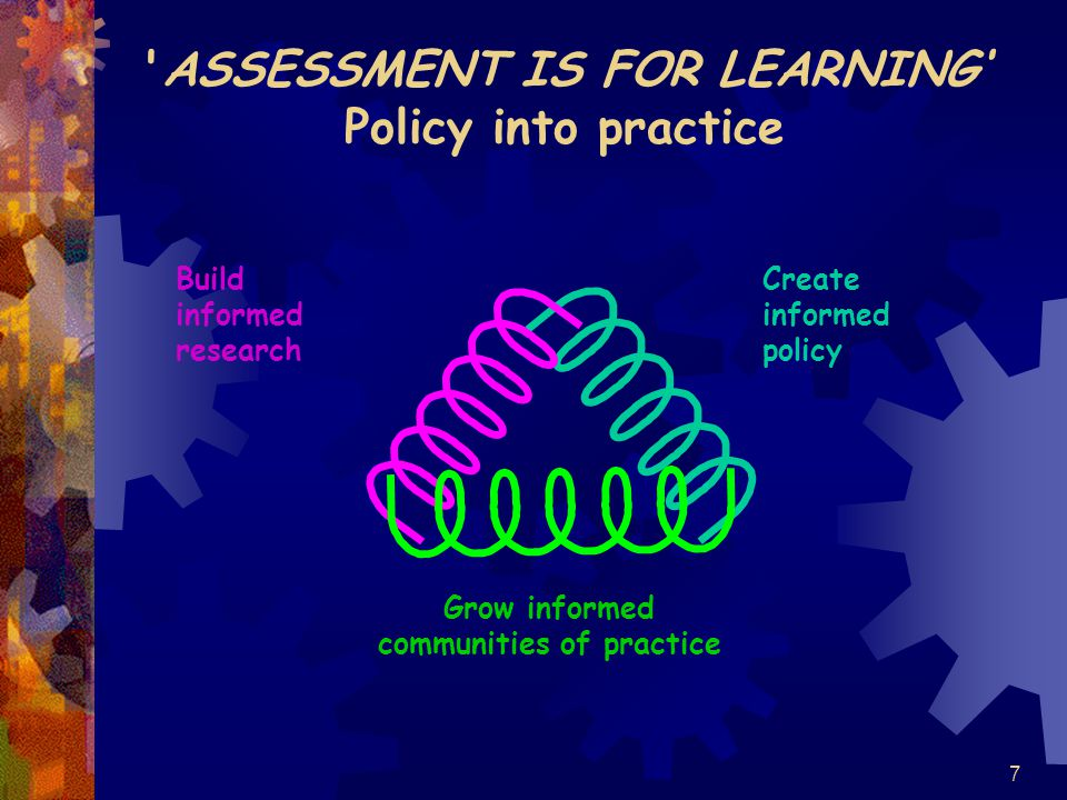 7 ASSESSMENT IS FOR LEARNING' Policy into practice Build informed research Create informed policy Grow informed communities of practice