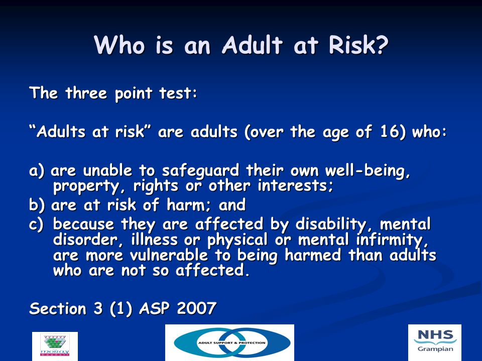 Who is an Adult at Risk.