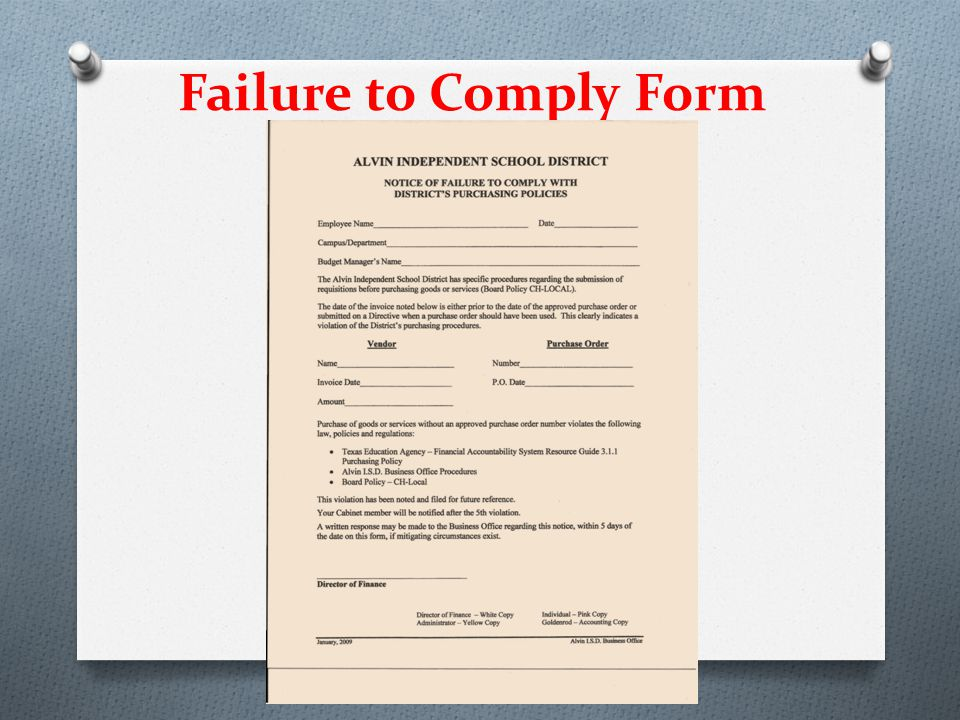Failure to Comply Form