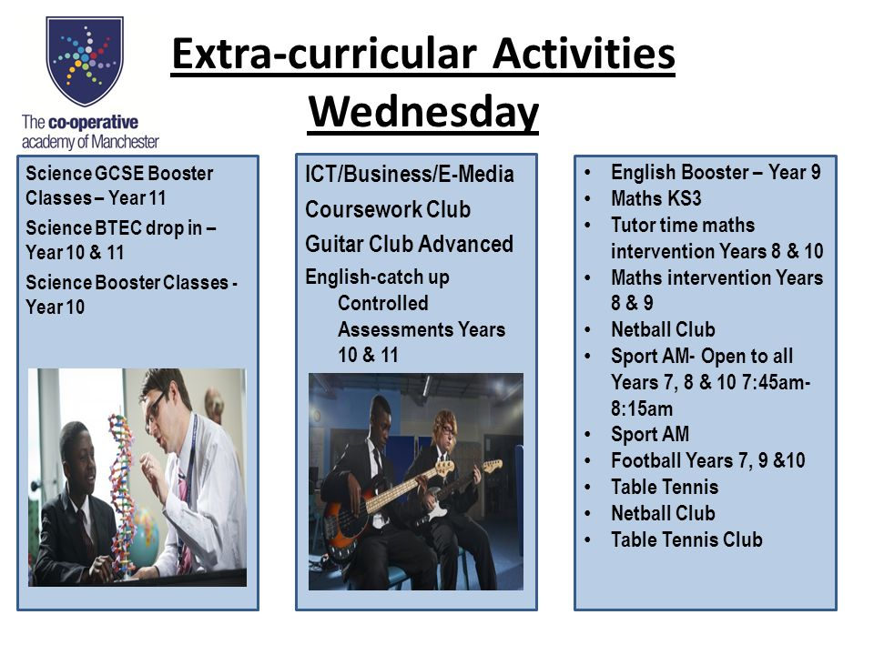 Extra-curricular Activities Wednesday Science GCSE Booster Classes – Year 11 Science BTEC drop in – Year 10 & 11 Science Booster Classes - Year 10 ICT/Business/E-Media Coursework Club Guitar Club Advanced English-catch up Controlled Assessments Years 10 & 11 English Booster – Year 9 Maths KS3 Tutor time maths intervention Years 8 & 10 Maths intervention Years 8 & 9 Netball Club Sport AM- Open to all Years 7, 8 & 10 7:45am- 8:15am Sport AM Football Years 7, 9 &10 Table Tennis Netball Club Table Tennis Club