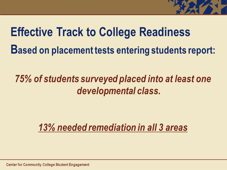 Effective Track to College Readiness B ased on placement tests entering students report: 75% of students surveyed placed into at least one developmental class.