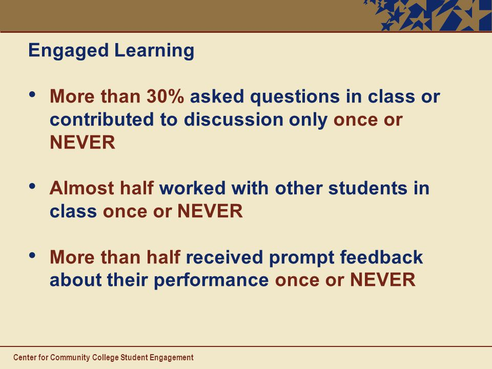 Engaged Learning More than 30% asked questions in class or contributed to discussion only once or NEVER Almost half worked with other students in class once or NEVER More than half received prompt feedback about their performance once or NEVER