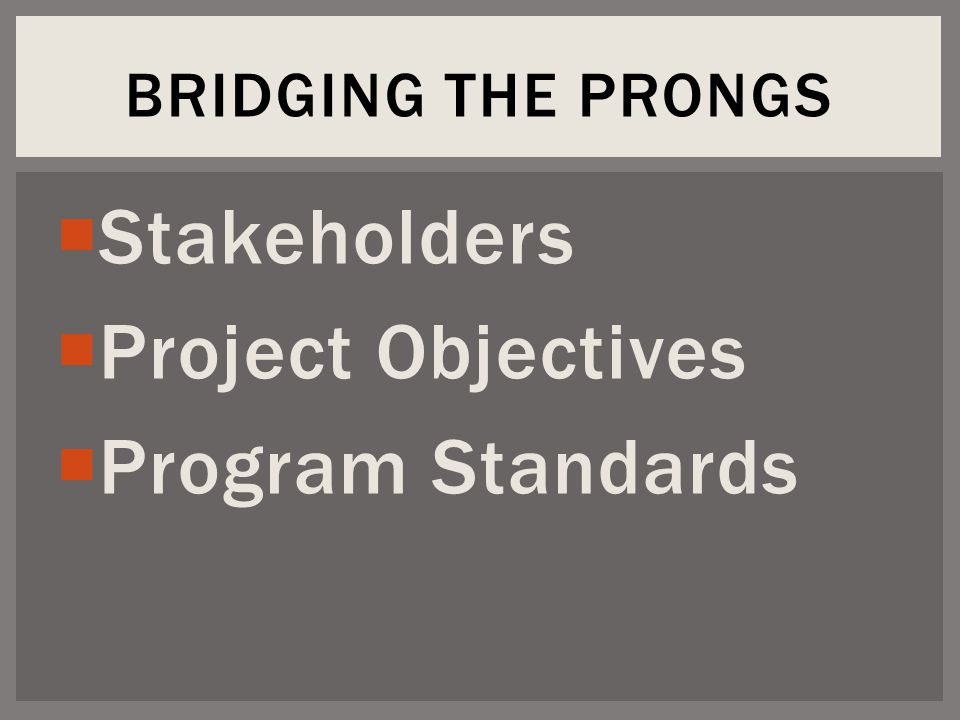  Stakeholders  Project Objectives  Program Standards BRIDGING THE PRONGS