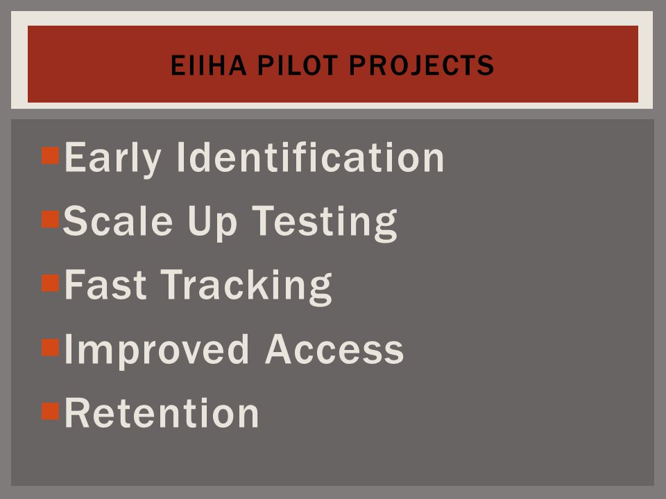  Early Identification  Scale Up Testing  Fast Tracking  Improved Access  Retention EIIHA PILOT PROJECTS