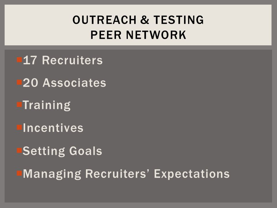 17 Recruiters  20 Associates  Training  Incentives  Setting Goals  Managing Recruiters' Expectations OUTREACH & TESTING PEER NETWORK