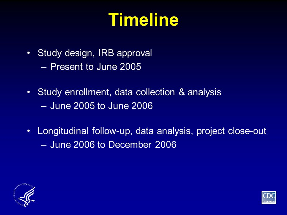 Timeline Study design, IRB approval –Present to June 2005 Study enrollment, data collection & analysis –June 2005 to June 2006 Longitudinal follow-up, data analysis, project close-out –June 2006 to December 2006