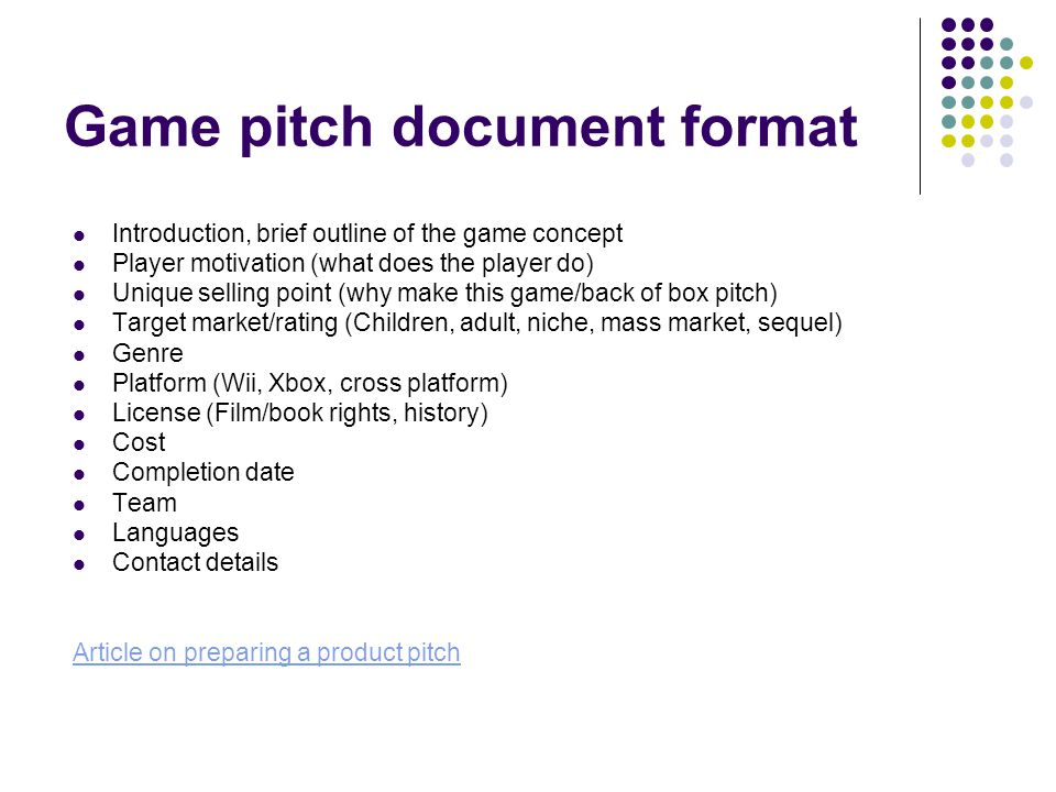 Multimedia Games Development COMM Week Early Game Development - Game pitch document template