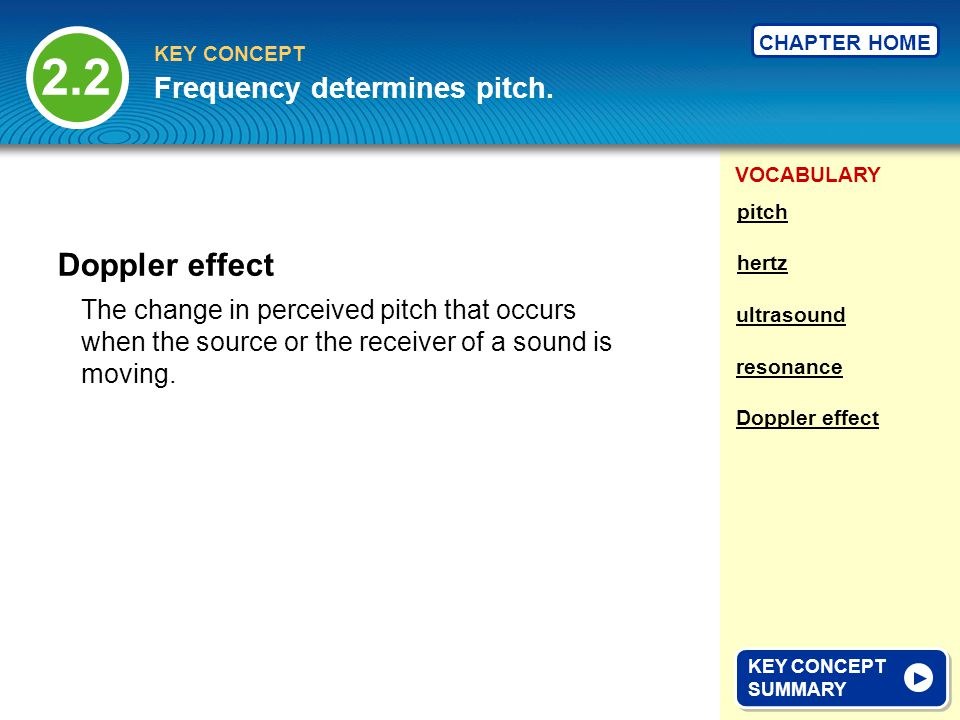 VOCABULARY KEY CONCEPT CHAPTER HOME The change in perceived pitch that occurs when the source or the receiver of a sound is moving.
