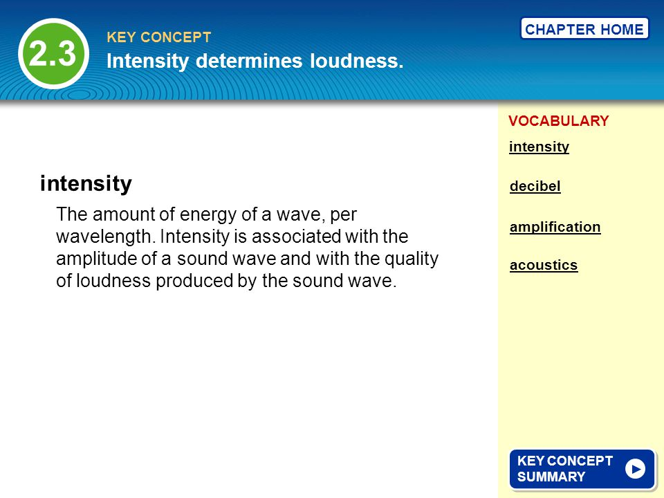 VOCABULARY KEY CONCEPT CHAPTER HOME The amount of energy of a wave, per wavelength.