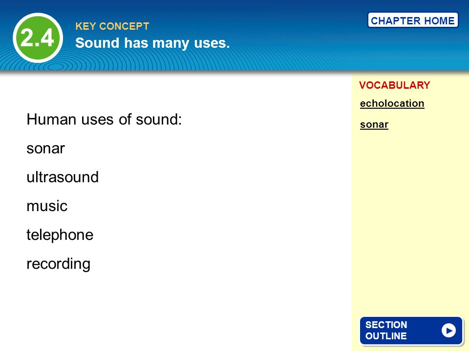 VOCABULARY KEY CONCEPT CHAPTER HOME Sound has many uses.