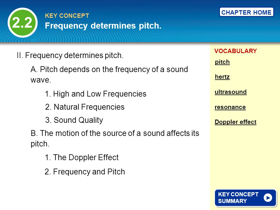 VOCABULARY KEY CONCEPT CHAPTER HOME 2.2 KEY CONCEPT SUMMARY KEY CONCEPT SUMMARY Frequency determines pitch.
