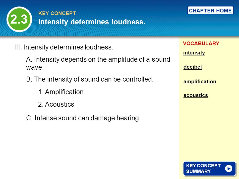 VOCABULARY KEY CONCEPT CHAPTER HOME III. Intensity determines loudness.
