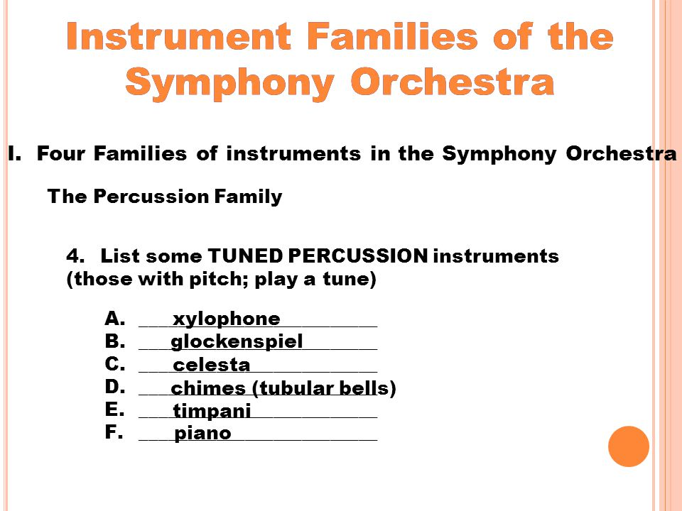 Instrument Families of the Symphony Orchestra Percussion Family