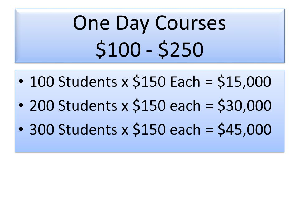 One Day Courses $100 - $ Students x $150 Each = $15, Students x $150 each = $30, Students x $150 each = $45, Students x $150 Each = $15, Students x $150 each = $30, Students x $150 each = $45,000