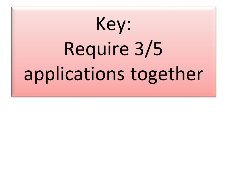 Key: Require 3/5 applications together