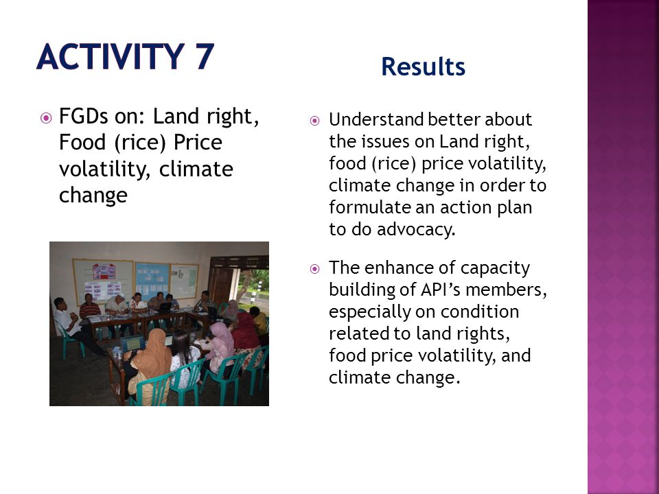 Results  FGDs on: Land right, Food (rice) Price volatility, climate change  Understand better about the issues on Land right, food (rice) price volatility, climate change in order to formulate an action plan to do advocacy.