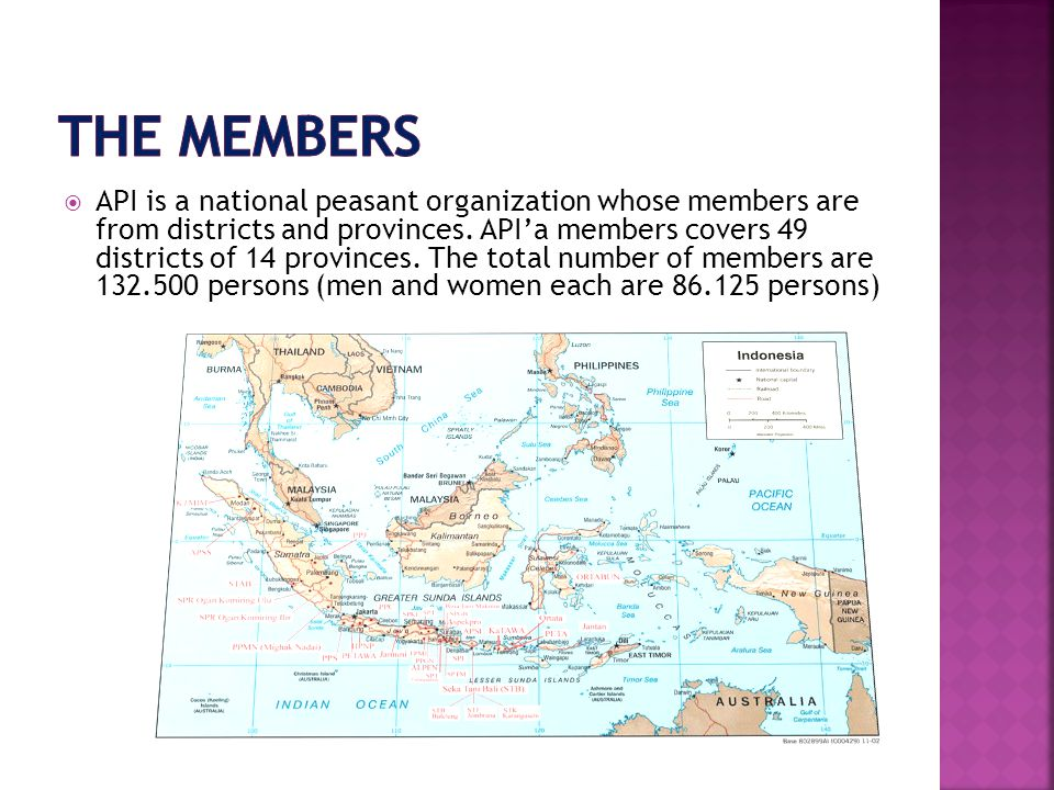  API is a national peasant organization whose members are from districts and provinces.