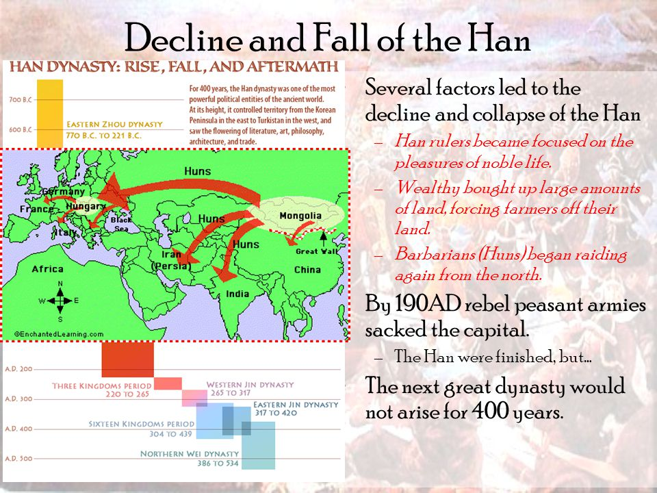 Decline and Fall of the Han Several factors led to the decline and collapse of the Han –Han rulers became focused on the pleasures of noble life.