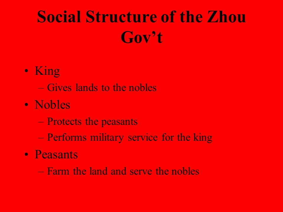Social Structure of the Zhou Gov't King –Gives lands to the nobles Nobles –Protects the peasants –Performs military service for the king Peasants –Farm the land and serve the nobles