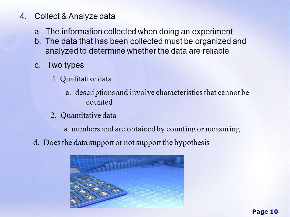 Page 10 4.Collect & Analyze data a.