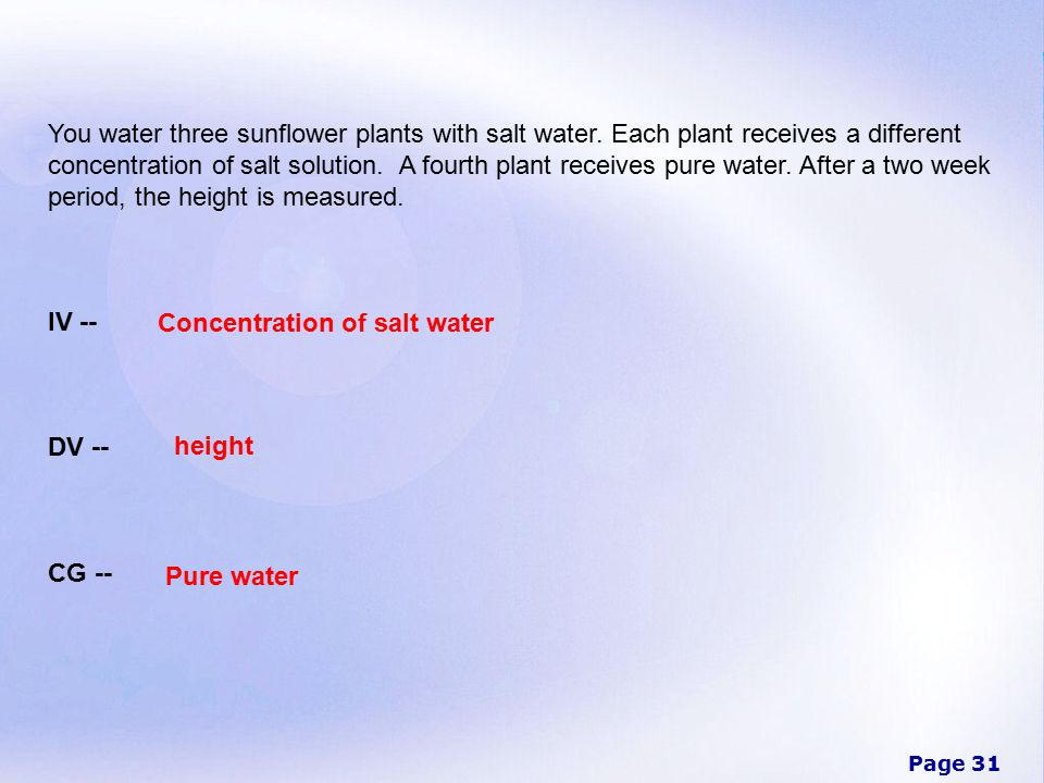 Page 31 You water three sunflower plants with salt water.
