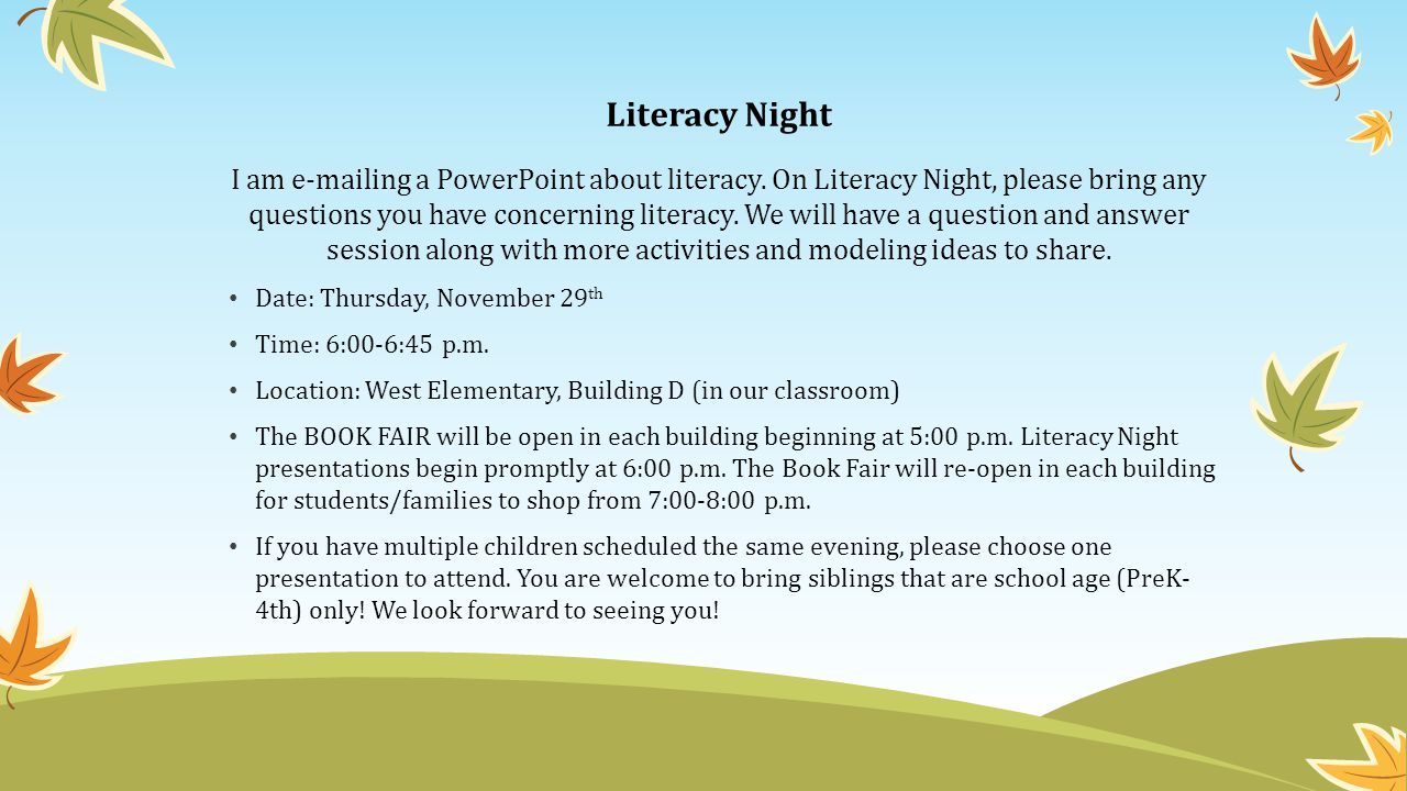 literacy night i am ing a powerpoint about literacy. on literacy