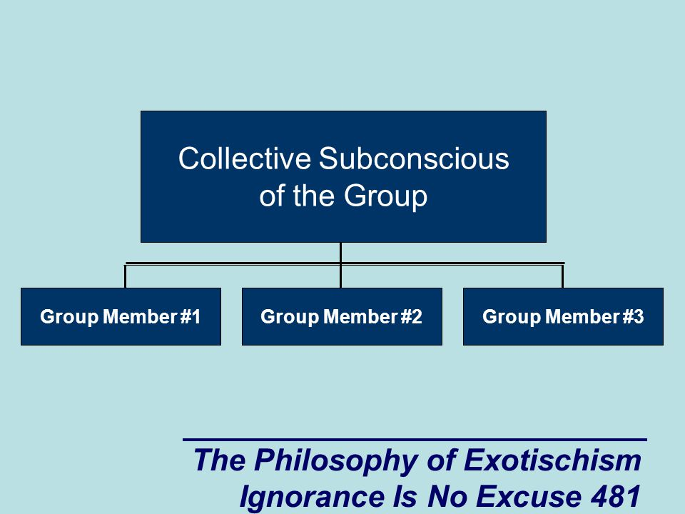 The Philosophy of Exotischism Ignorance Is No Excuse 481 Group Member #3 Collective Subconscious of the Group Group Member #2Group Member #1