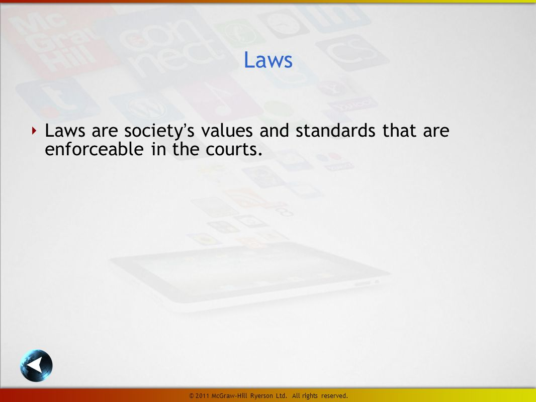 ‣ Laws are society's values and standards that are enforceable in the courts.